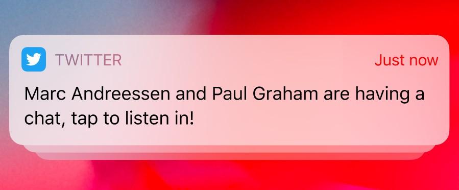 Twitter notification example